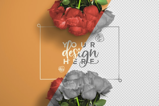 バラの花束の背景のモックアップ