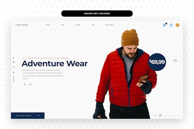 メンズウィンタースポーツウェアファッションウェブサイトのデザイン