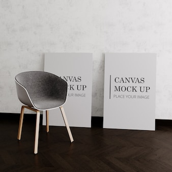 Два холста макет со стулом