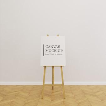 Одиночная картина холст рама макет на мольберте в пустой комнате с деревянным полом - портретная рамка