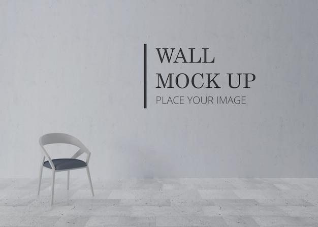 Макет стены комнаты с белым деревянным стулом