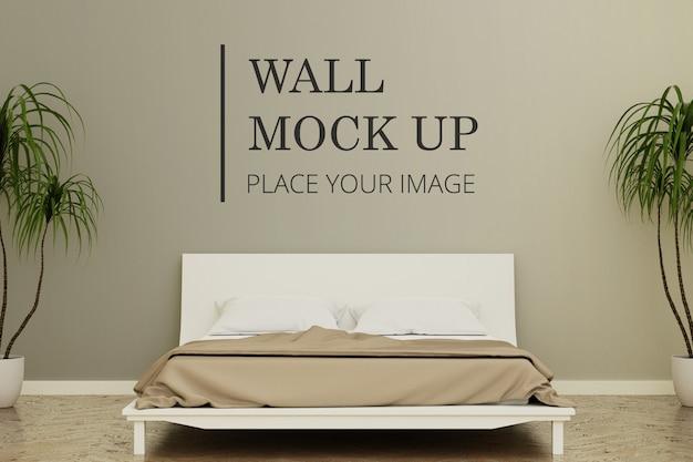 Деревянный пол спальни комнаты стены макет с растениями