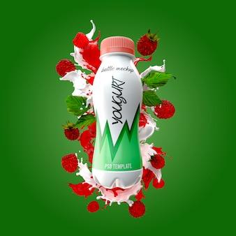 Бутылка йогурта с молочным всплеском и малиновым макетом