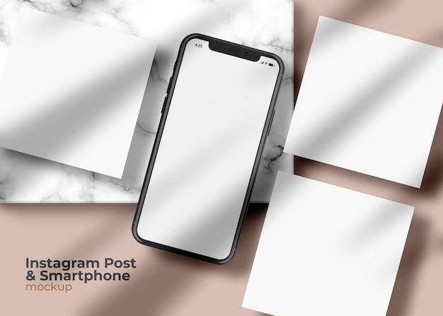 Экран телефона с квадратным макетом в социальных сетях