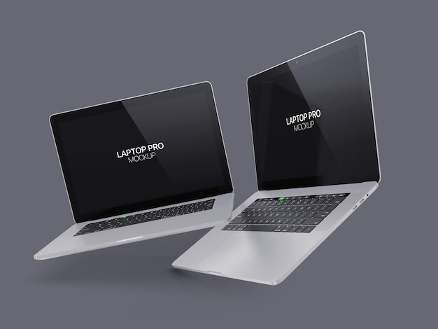 Два плавающих ноутбука макет ноутбука