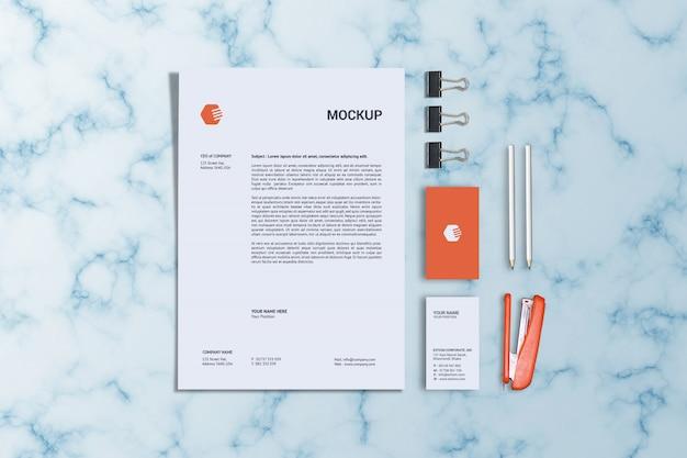 Шаблон макета бланка и вертикальной визитки