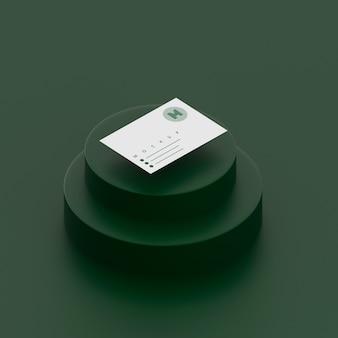 Однотонная зеленая сцена с макетом визитной карточки