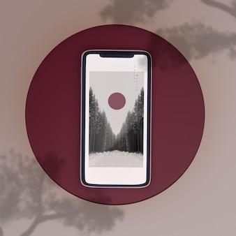Японская сцена телефона макет тени