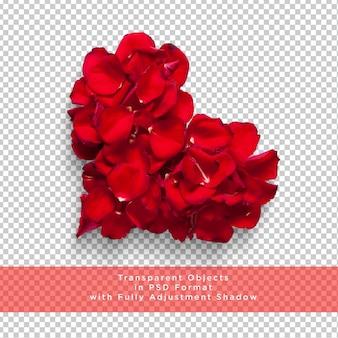 透明な層にハート形のバラの花びら