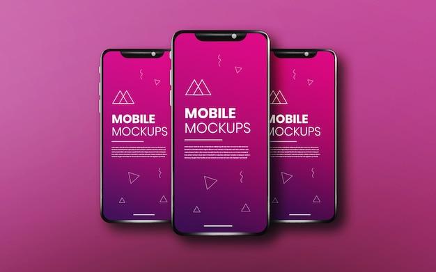 Реалистичное и чистое приложение с тремя смартфонами