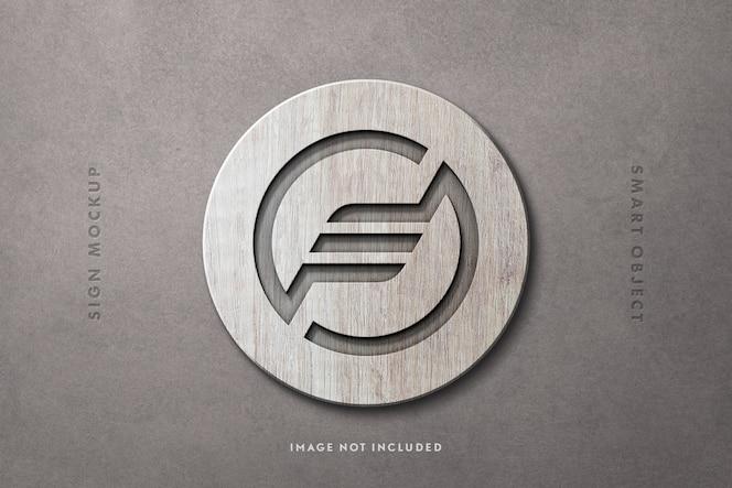 Круглый деревянный знак макет