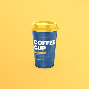 コーヒー紙コップの正面図のモックアップ