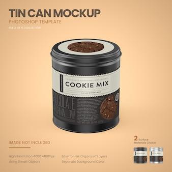 小さなブリキ缶のモックアップ