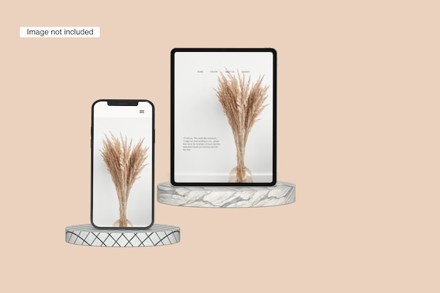 Пейзаж планшет макет передний угол