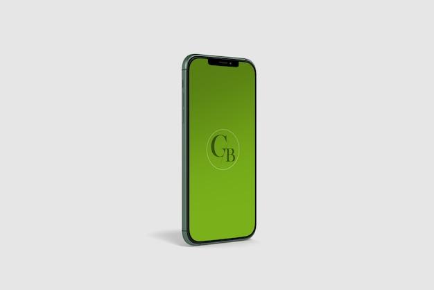 緑のスマートフォンのモックアップ