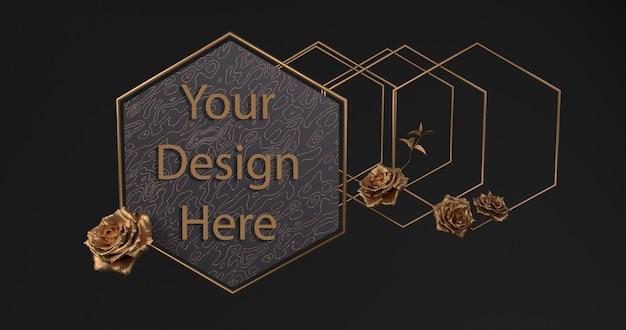 Золотая рамка с декоративными розами