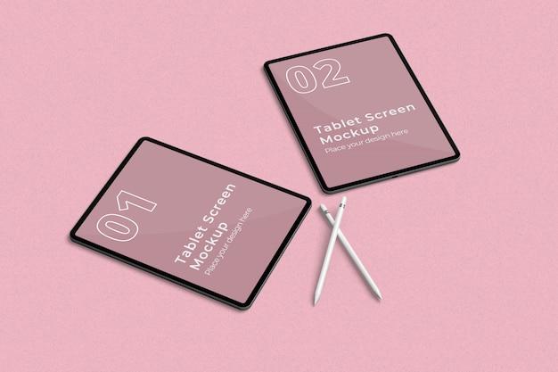 Укладка макета планшета с двумя карандашами слева