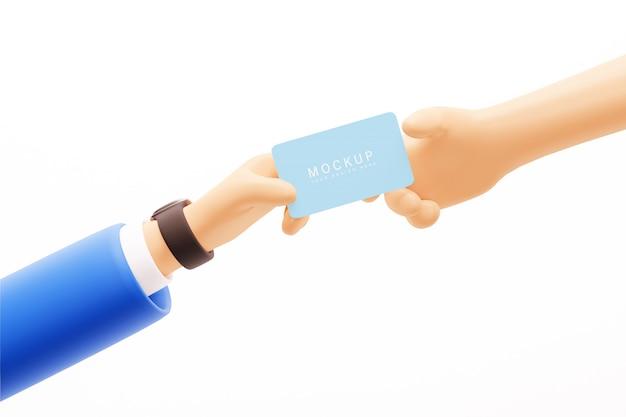 Макет мультяшного человека дает визитку другому