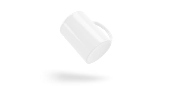 Белый керамический кубок летать изолированные