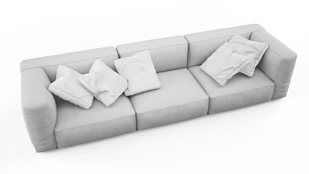 分離されたクッションとエレガントなグレーのソファ