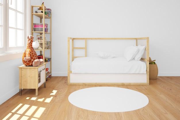 木製ベッド付きの子供部屋