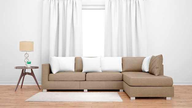 Уютная гостиная с коричневым диваном и большим окном