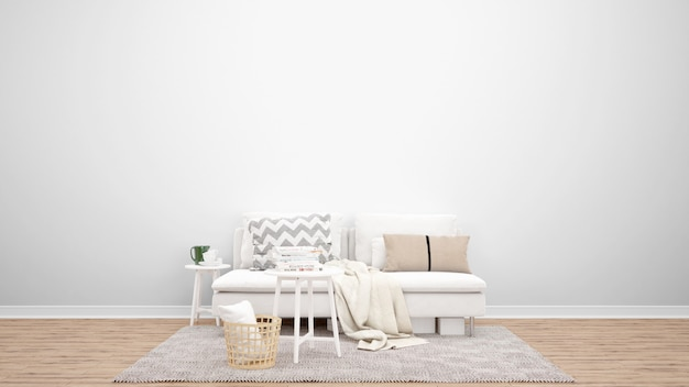 Минимальная гостиная с белым диваном и ковром, идеи дизайна интерьера