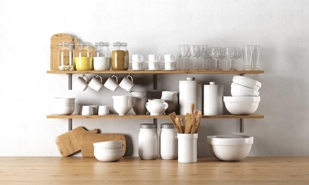 木製の棚に食器の要素