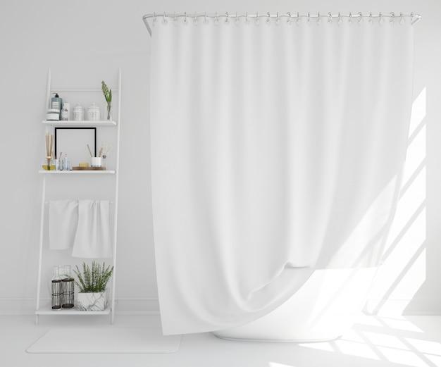 カーテンと棚付きの白いバスタブ