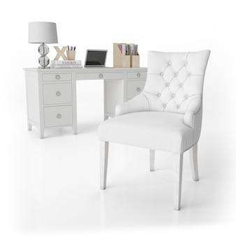 Кресло и письменный стол с канцелярскими товарами