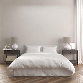 ベッドとモダンな木製ナイトテーブルモックアップ付きの部屋の正面図