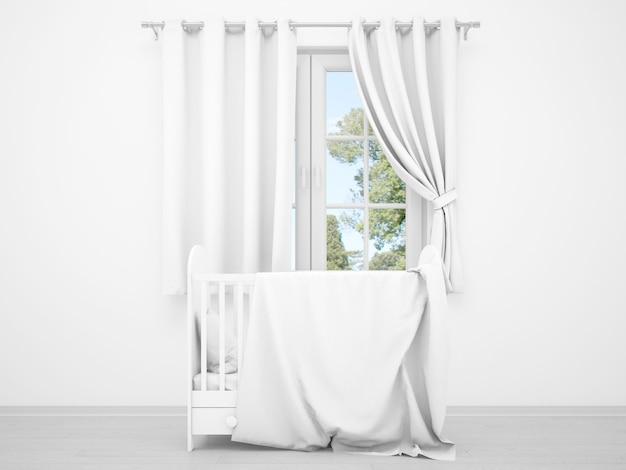 窓とゆりかごを持つ現実的な白い赤ちゃんの寝室