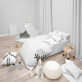 たくさんのおもちゃのある子供用寝室。モダンな装飾