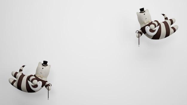 白い背景の上の飛行猫のおもちゃ