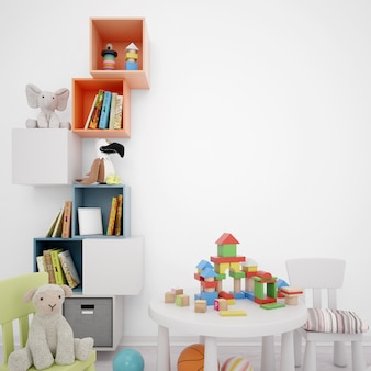 収納引き出し、テーブル、多くのおもちゃを備えた子供用プレイルーム