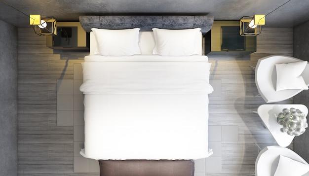 Реалистичная современная спальня с двуспальной кроватью с мебелью на вид сверху
