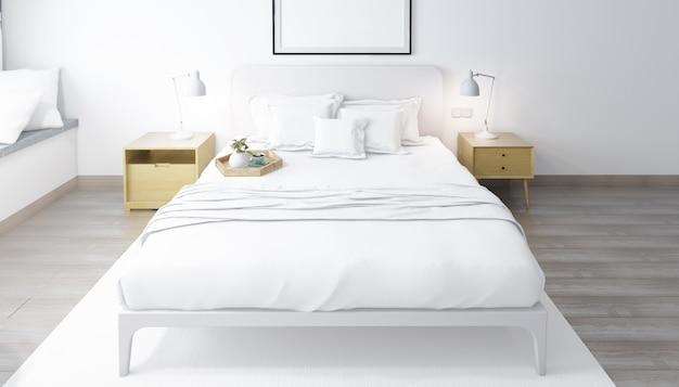 Реалистичная яркая современная двухместная спальня с мебелью