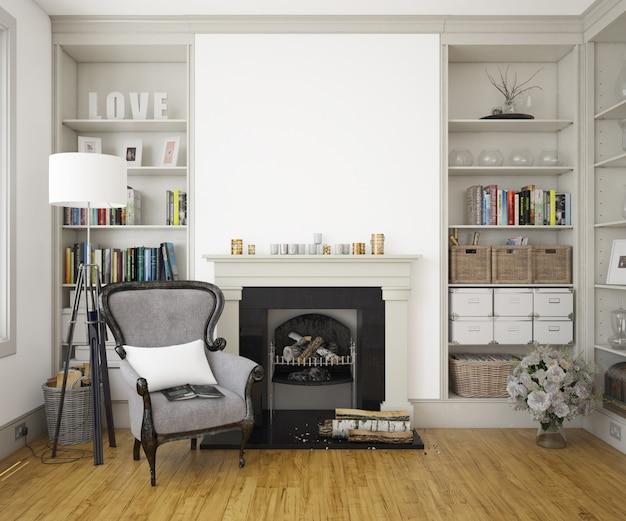 肘掛け椅子、暖炉、モックアップ壁のあるエレガントなリビングルーム