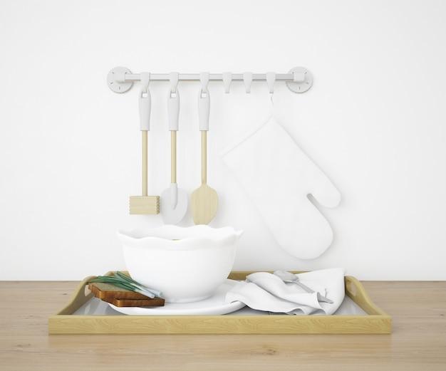 Реалистичная кухня с посудой и подносом