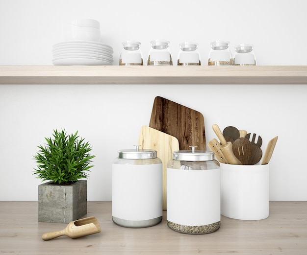 Реалистичная посуда кухня и баночки макет