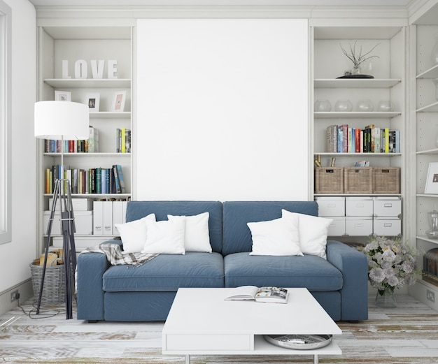 ソファとモックアップ壁のあるエレガントなリビングルーム