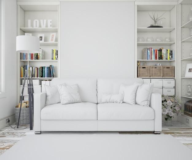 白いソファ付きのリビングルーム