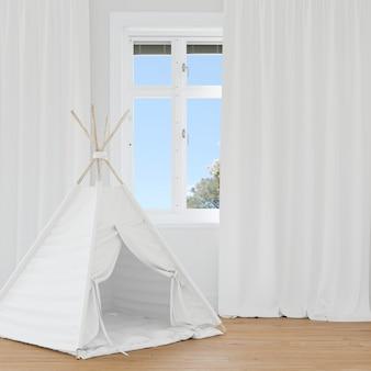 白いテントのある部屋
