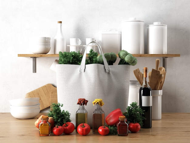キッチンで食材と白い袋