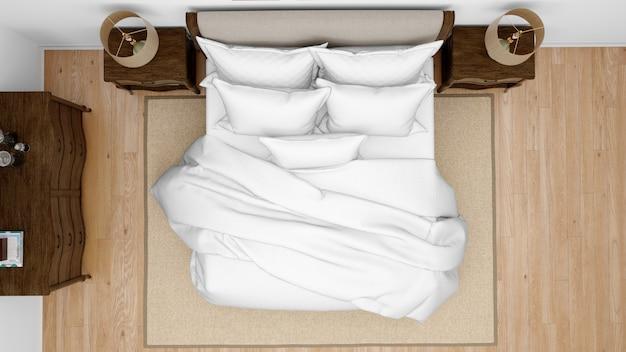 ダブルベッドを備えたクラシックなベッドルームまたはホテルの部屋