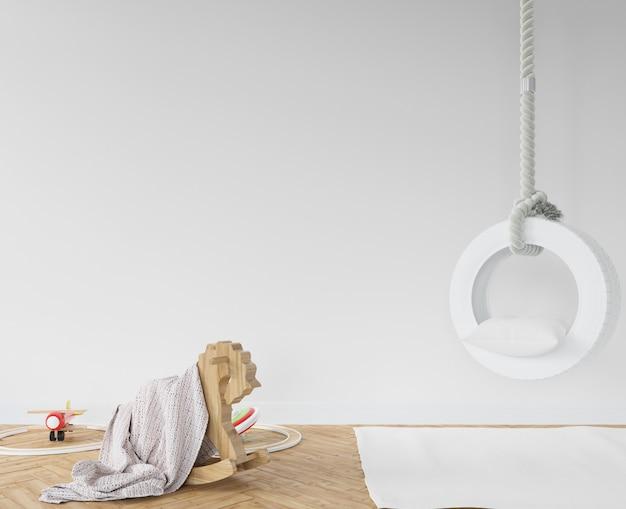 Детская комната с белыми качелями и лошадкой-качалкой