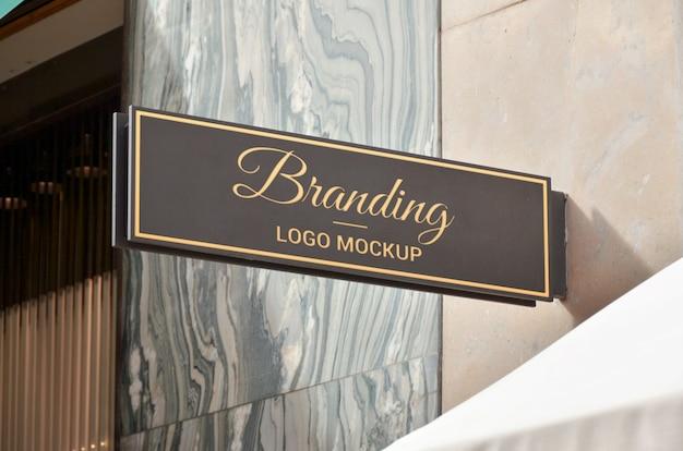 Прямоугольный знак логотипа брендинг макет.