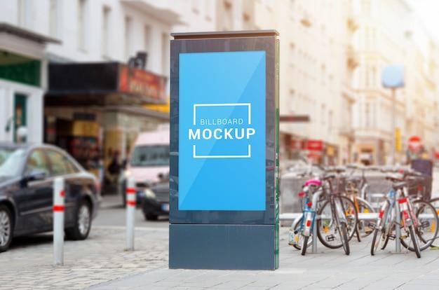 Город света, видео привели рекламный щит макет на улице.