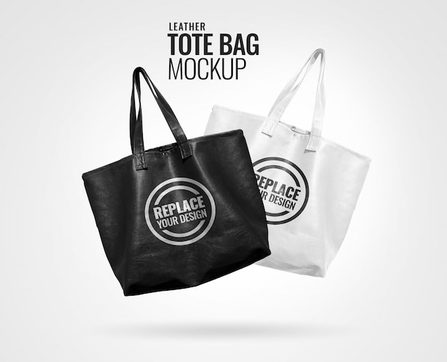 Черно-белая кожаная сумка макет