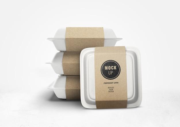 Реалистичная доставка коробок с едой и реалистичный макет